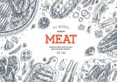 Meat market frame Linear graphic