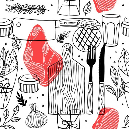 Illustration for Seamless meat pattern. Meat restaurant pattern. Vector illustration - Royalty Free Image