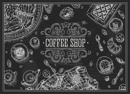 Illustration pour Café Café Chalkboard Cadre de vue supérieure. Illustration vectorielle - image libre de droit