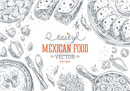 Illustration for Mexican Food Frame. Linear graphic. Vector illustration - Royalty Free Image