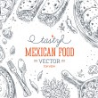 Mexican Food Frame. Linear graphic. Vector illustration