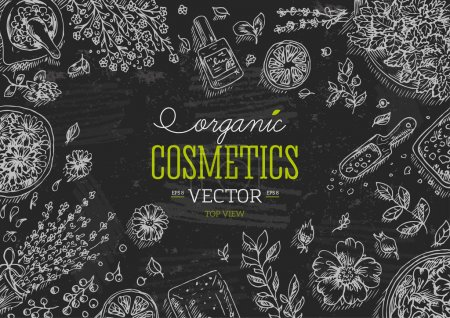 Illustration for Organic Cosmetics frame. Natural cosmetics background. Vector illustration - Royalty Free Image