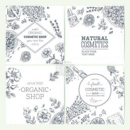Illustration for Organic cosmetics frames collection. Natural cosmetics background. Vector illustration - Royalty Free Image