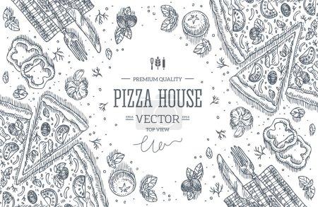 Illustration pour Tableau noir Pizza House vue de dessus frame.Design modèle. Illustration vectorielle - image libre de droit