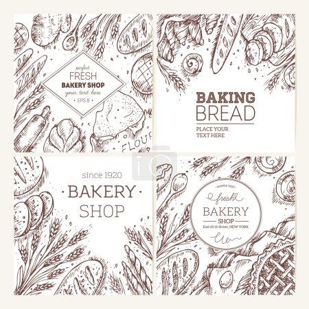 Illustration pour Ensemble de cadres de boulangerie esquissés. Collection de pain. Illustration vectorielle . - image libre de droit