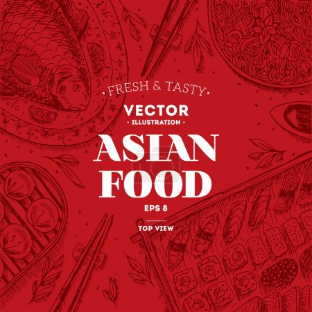Illustration for Asian Food Frame. Linear graphic. Vector illustration - Royalty Free Image