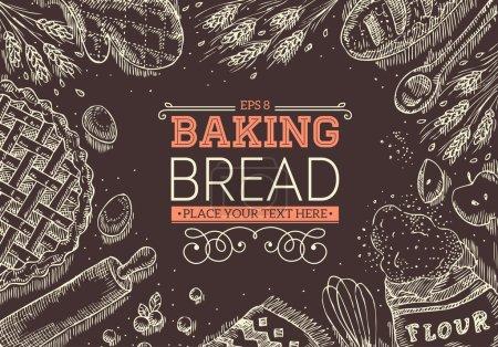 Illustration pour Cadre de pain de cuisson. Illustration vectorielle - image libre de droit