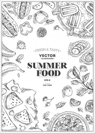 Illustration for Vertical Summer Chalk Board Food Frame. Linear graphic. Vector illustration - Royalty Free Image