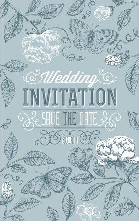 Illustration for Vintage Floral Wedding Invitation - Royalty Free Image