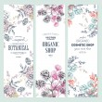 Floral banner collection. Organic shop. Vector illustration