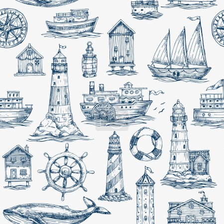 Illustration for Nautical elements seamless pattern. Sea background. Vector illustration - Royalty Free Image