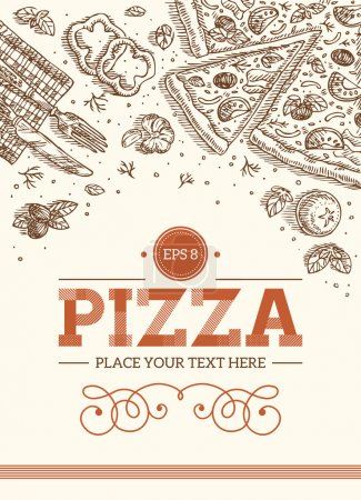 Illustration pour Modèle de pizza rétro. Illustration vectorielle - image libre de droit