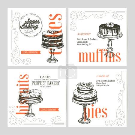 Ilustración de Colección de banners de panadería vintage. Ilustración de vector - Imagen libre de derechos