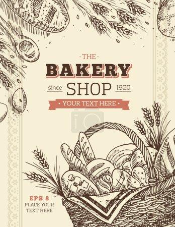 Illustration pour Modèle de carte de boulangerie vintage - image libre de droit