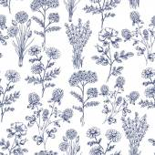 Hand Drawn Herbs Seamless Pattern