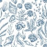 Sea Elements Pattern. Vector illustration...