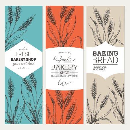 Illustration pour Bannières vintage verticales en pain. Illustration vectorielle - image libre de droit