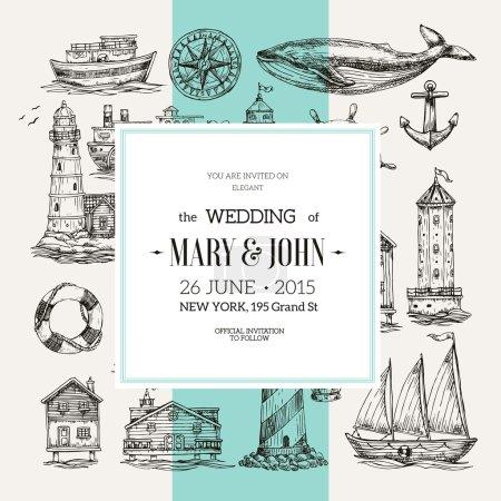Illustration for Nautical Wedding Invitation. Sea theme. Vector illustration - Royalty Free Image