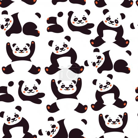 Illustration for Seamless pattern with panda. Vector illustration - Royalty Free Image