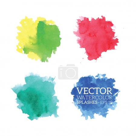 Illustration for Colorful Watercolor Splashes. Vector illustration - Royalty Free Image