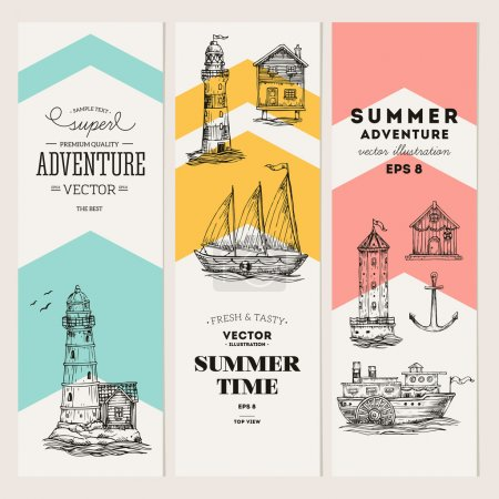 Illustration for Nautical elements banner collection. Sea set. Vector illustration - Royalty Free Image