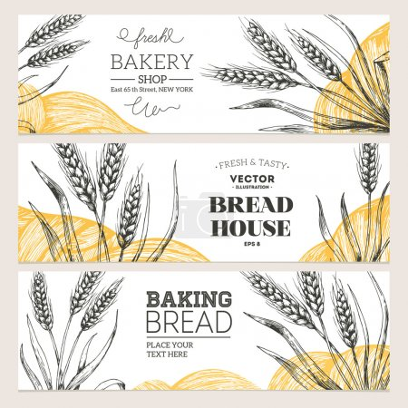 Illustration for Bread horizontal banners collection. Banner set. Vector illustration - Royalty Free Image