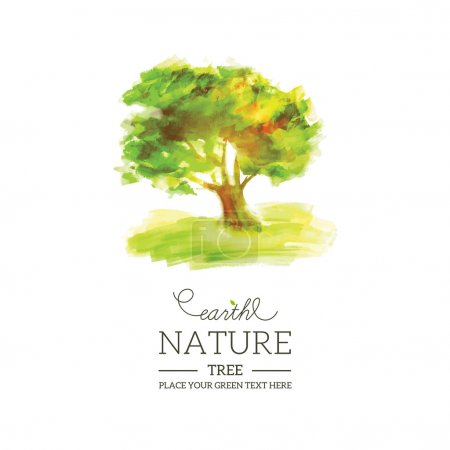 Illustration for Eco composition with green water color tree. Vector illustration - Royalty Free Image