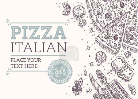 Illustration pour Cadre de pizza rétro. Illustration vectorielle - image libre de droit