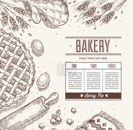 Illustration pour Modèle de pain de cuisson. Illustration vectorielle - image libre de droit