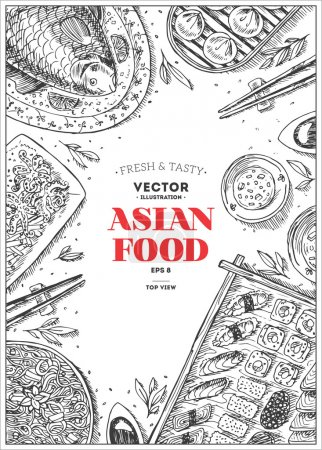 Illustration for Vertical Asian Food Frame. Linear graphic. Vector illustration - Royalty Free Image