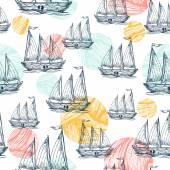 Nautical elements seamless pattern