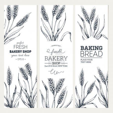 Bread vertical vintage banners