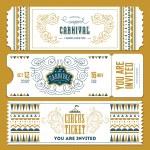 Vintage Circus banner collection. Ticket invitatio...