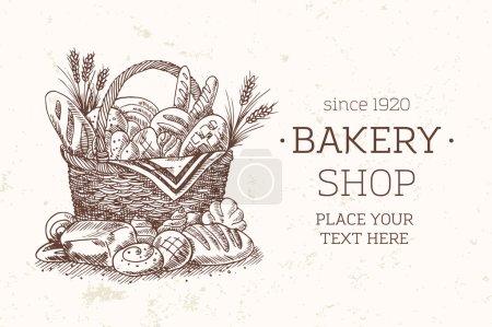 Illustration pour Modèle de panier de boulangerie. Illustration vectorielle - image libre de droit