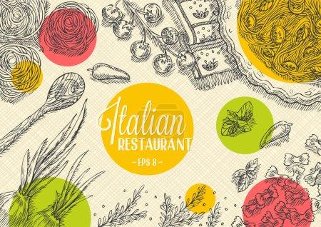 Illustration pour Modèle de restaurant italien. Illustration vectorielle - image libre de droit