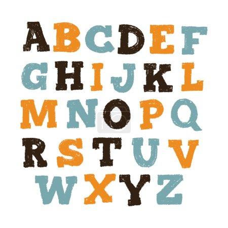 Illustration pour Alphabet de main de dessin. Illustration vectorielle - image libre de droit