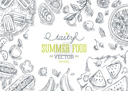 Illustration for Summer Food Frame. Linear graphic. Vector illustration - Royalty Free Image