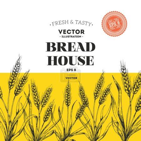Illustration pour Modèle de conception de pain. Illustration vectorielle - image libre de droit