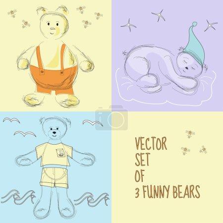 Photo pour Ensemble de 3 illustrations vectorielles avec des ours drôles - image libre de droit