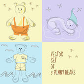 Vector set of 3 illustrations with funny bears