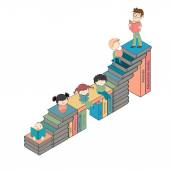 Stairs of books with many children reading