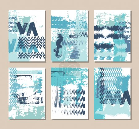 Set of blue Business Card Templates