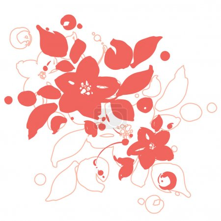Beautiful greeting card with red flowers