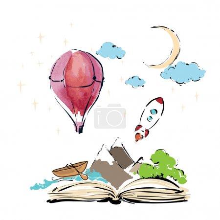 Illustration pour Livre ouvert avec fusée, montagnes, lune et étoiles, nuages, bateau, vagues, phare, ballon d'air isolé sur fond blanc, illustration vectorielle - image libre de droit