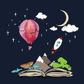Open book with rocket and air balloon