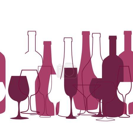 Illustration pour Design de carte des vins pour bar et restaurant. Avec bouteilles et verres. Place pour ton texto. Silhouette bouteille et verre - image libre de droit