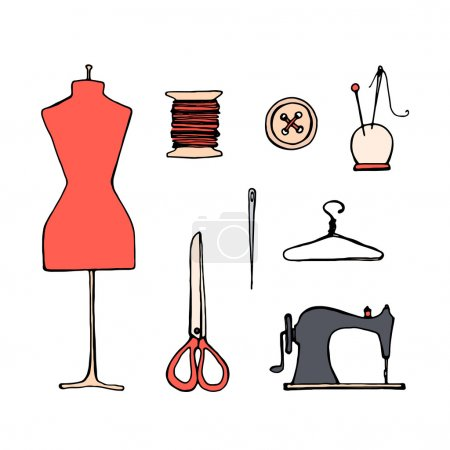 Set with sketch tailoring equipment