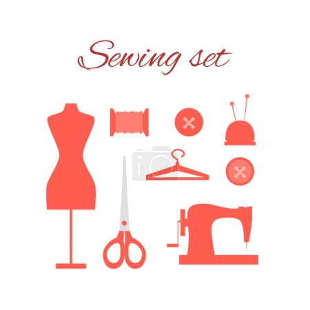 Set with icons tailoring equipment
