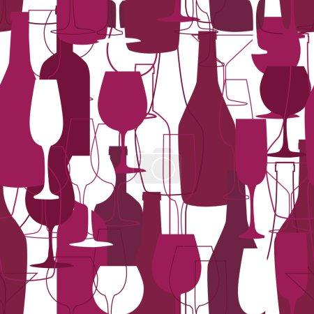 Illustration pour Fond sans couture avec des bouteilles de vin et des verres. Menu et fond de restaurant - image libre de droit