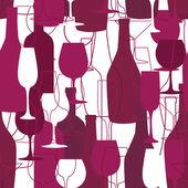 Bezešvé pozadí s lahví vína a brýle